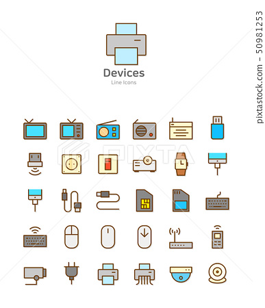 Set of line modern color icons for mobile and web design vector illustration 011 50981253