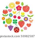 필기 바람 (색연필 크레용 터치) 일러스트 세트 (원) / 식물 · 꽃 · 과일 · 과일 · 벌레 50982587