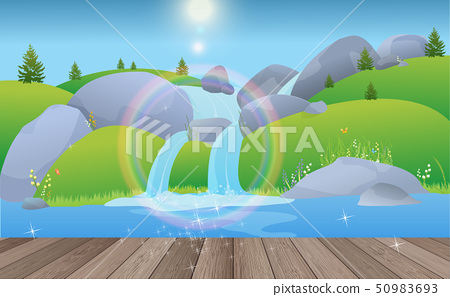 landscape of waterfall in the daytime on the woode 50983693