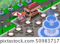 the fountain in outdoor cafe at garden 50983717