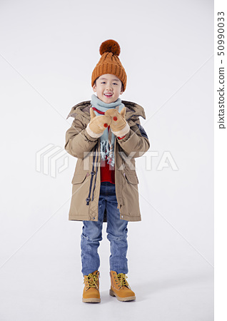 Cheerful boy and a girl on the white background 252 50990033