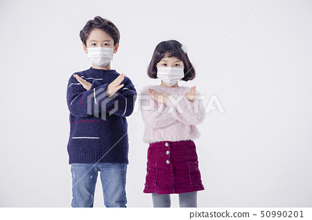Cheerful boy and a girl on the white background 184 50990201