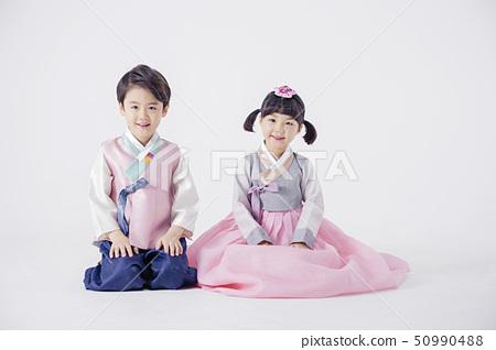 Children dress up in rainbow-colored Hanbok 021 50990488