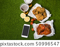 Korean style chicken and beer, delicious fried or spicy sauce chicken with cool beer 041 50996547