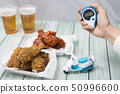 Korean style chicken and beer, delicious fried or spicy sauce chicken with cool beer 043 50996600