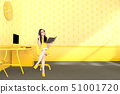 business woman sitting at the desk yellow color 51001720