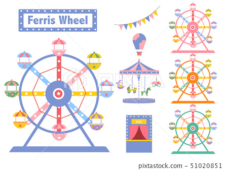 Set of Ferris Wheel colorful from amusement park,  51020851