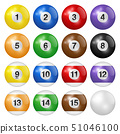 Billiard balls isolated on white background 51046100