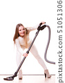 Funny girl with vacuum cleaner. Housework 51051306