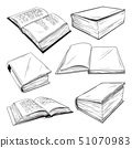 Set of different books on a white background. 51070983