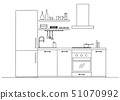 Sketch of the kitchen front view. Vector 51070992
