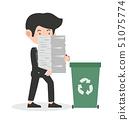 businessman holding papers recycling concept 51075774