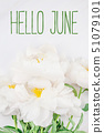 Hello June message with white peony flower 51079101