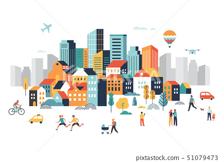 Smart city, landscape city centre with many building, airplane is flying in the sky and people 51079473