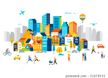 Smart city, landscape city centre with many building, airplane is flying in the sky and people 51079535