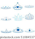 Set of different silver crowns with large and small jewel of sapphires. Vector illustration. 51084537