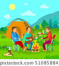Camping, Campfire and Tent, Friends with Guitar 51085884