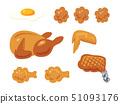 닭고기 요리의 일러스트 세트 (선 없음) 51093176
