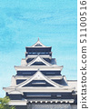 Kumamoto Castle Watercolor style Vertical 51100516