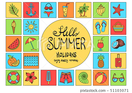 Collection of Summer icons vector Set Outline 51103071