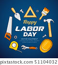 Happy Labor day Craftsman tool vector, on blue 51104032