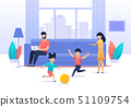 Family Spending Time at Home Cartoon Illustration 51109754