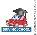 driving school car cartoon isolated on white 51115594