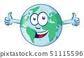 earth cartoon character earth day mascot thumbs up 51115596