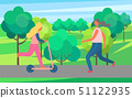 Woman Jogging in Park and Girl on Kick Scooter 51122935