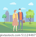 Man and Woman Holding Hands Vector Couple in Park 51124467