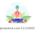 Yoga girl with facial mask practicing yoga asana 51132602
