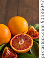 Fresh red Sicilian  oranges with leaves 51136047