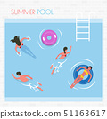 Summer Pool People Swimming and Laying on Lifebuoy 51163617