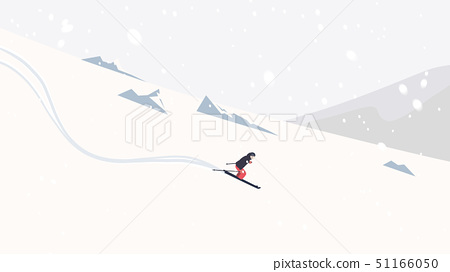 Skier skiing downhill on high mountain with 51166050