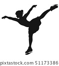 Black silhouette of a girl dancing on a skating 51173386