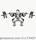 Muscular man, weightlifter, lifting barbell 51173497