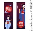 Geisha vector Japanese beautiful young woman in fashion kimono in Japan illustration backdrop set of 51185662