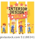 Builder vector constructor interior design children character building construction illustration 51186341