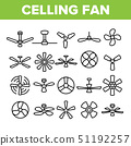 Ceiling Fans, Propellers Vector Linear Icons Set 51192257