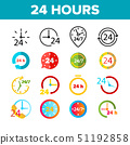 24 Hours, Clock, Time Vector Color Icons Set 51192858