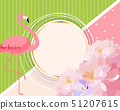 Colorful Card Template with Cartoon Pink Flamingo 51207615