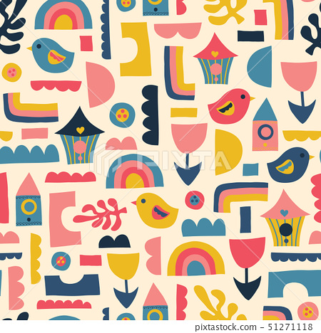 Scandinavian kids pattern birds rainbows and shapes. Seamless vector background. 51271118