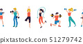 Fitness workout characters seamless vector illustration border. Sport club gym body-building 51279742