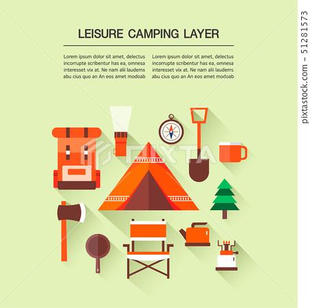 帳篷背包手電筒指南針樹杯子例證簡單的象 51281573