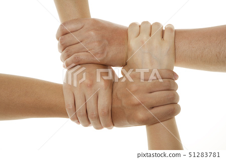 Two people holding hands, overhead view 51283781