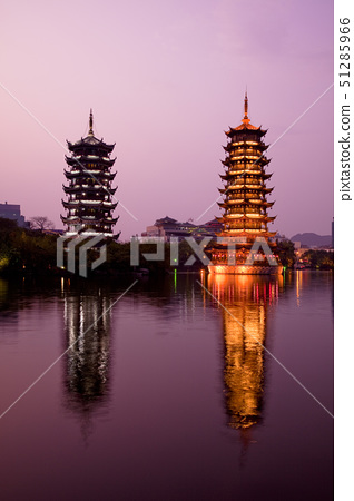 the sun and moon tower night view, gui lin, china 51285966