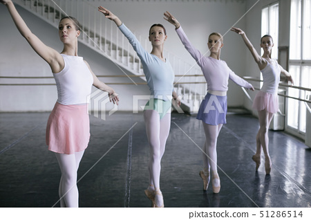 Female ballet dancers doing the toe-dance side-by-side 51286514