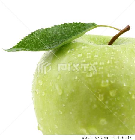 green apple fruit with leaf cut 51316337