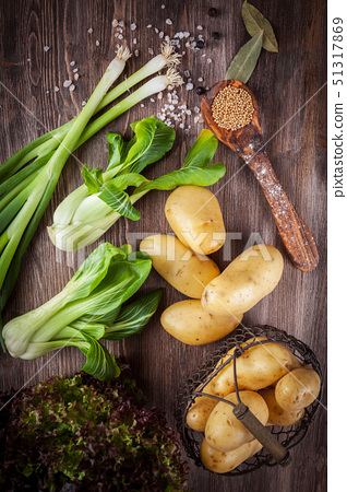 Raw vegetables with spices 51317869
