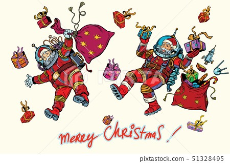 Space Santa Claus in zero gravity with Christmas gifts 51328495